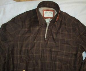 VINTAGE ORVIS SPORTING TRADITIONS PLAID WOOL COTTON LINED JACKET LEATHER TRIM L