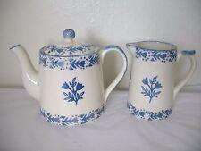 Moorland Staffordshire Teapot & Creamer Chelsea Works Burslem England Blue MINT