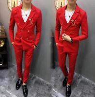 Mens Formal Double breasted Blazers Suit Lapel Party Slim Dress Coat Pants 2PCS