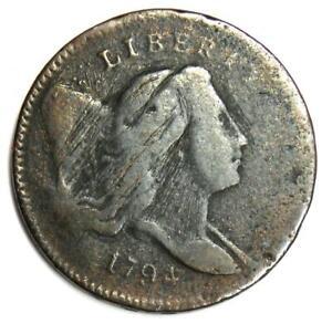 1794 Liberty Cap Flowing Hair Half Cent 1/2C Coin C-3A R5 Variety - Fine Detail
