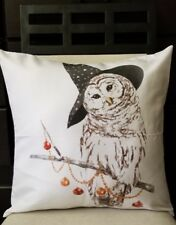 """Fall Autumn Owl Wearing Wizard Hat Beads Ornaments Throw Pillow Cover 18"""" US SLR"""