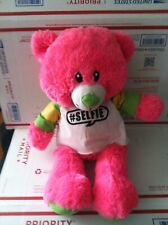 "RARE Pink  Teddy Bear Plush Stuffed Animal w T Shirt #Selfie approx19.5"""