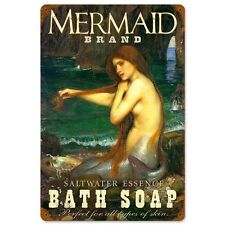 Mermaid Brand Saltwater Essence Bath Soap Fantasy Tin Metal Steel Sign 12x18