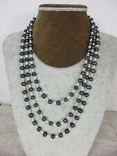 sehr lange Perlenkette Tahiti Perlen schwarz einzeln geknotet 100% Natur 168 cm