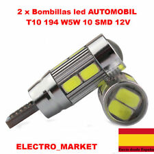 2 x Bombillas led coche T10 194 W5W 10 SMD 5630 5730  12V -BLANCO