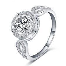 Fashion 925 Silver Women Round White Sapphire Ring Engagement Wedding Jewelry