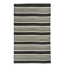 Black & White Rug Striped Recycled Plastic by Ib Laursen 180x120 cm/ Outdoor .
