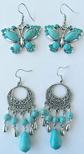 2 Pairs Womens Kids Retro & Butterfly Drop Dangle Turquoise Pierced Earrings Aus