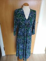 Ladies CC COUNTRY CASUALS Dress Size M 12 14 Green Blue Stretch Smart Party