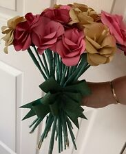 24 PEICE PAPER FLOWER BOUQUET. HANDMADE TO ORDER.