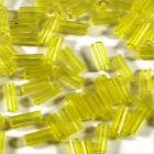 perline rocaille Tubi in vetro Trasparente 4x2mm Giallo 20g