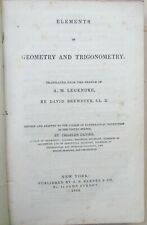 1846 Antique Elements Of Geometry & Trigonometry printed in New York