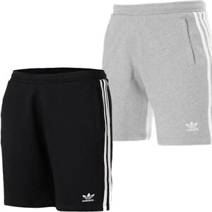 Adidas Mens Originals Shorts 3 Stripes Casual Cotton Fleece Shorts Pockets Size