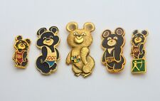 LOT of 5 x VINTAGE USSR SOVIET OLYMPIC GAMES 1980 BEAR MASCOT MOSCOW PIN BADGES