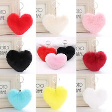 Fluffy Faux Rabbit Fur Heart Shape PomPom Ball Car Keychain Handbag Pendant