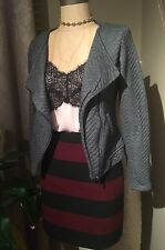 NWT H&M Charcoal Gray Quilted Moto Cropped Asymmetrical Zip Lapel Jacket Size 6