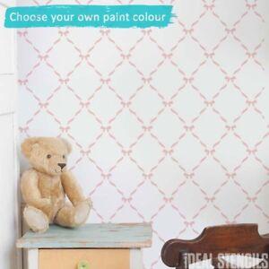 Ribbon & Bow Nursery STENCIL Paint Bespoke Wallpaper effect Patterns Home Decor
