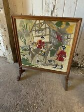 Vintage Retro Wooden Fire Screen on Feet Tapestry Man on Horseback