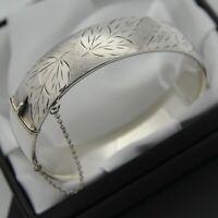 1963 Vintage Heavy Solid 925 Silver Ivy Leaf Design Hinged Bangle Bracelet