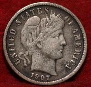 1907 Philadelphia Mint Silver Barber Dime