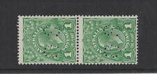 1929 Australia 1d green perfin OS SG O 98 sm. multi P 13 1/2 mlh pair