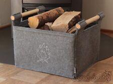Holzkorb Kaminholzkorb Filzkorb mit Flamme auch für Pellets und Holzbriketts