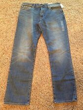 NEW MEN'S GAP 1969  MED WASH BLUE JEANS MID RISE STRETCH  STRAIGHT LEG 34 X 32