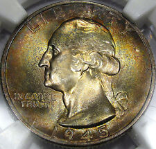 1945-S Washington Quarter Superb Gem BU NGC MS-66 (Star) Awesome COLOR & FLASH!!