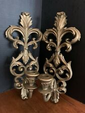 Pair Vintage Burwood Candle Holder Wall Sconce Gold