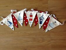 BOYS BUNTING NAUTICAL MARITIME FLAGS - BOATS, LIGHTHOUSE with RED POLKA DOT SPOT