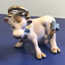VINTAGE COW FIGURINE STATUE SCULPTURE PORCELAIN PURPLE GOLD HALO HOOFS BULL PINK
