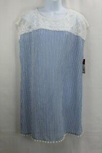 Merona Blue Striped Swimsuit Cover-up Size XL Lace Yoke Pom pom Trim