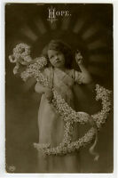 c 1910 Child Children Cute ANCHOR OF HOPE Girl photo postcard