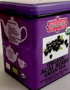 Brew LaLa USDA Organic Acai Berry GREEN Tea 50 Bags,Tin , EXP:- 11/23 Gift. New