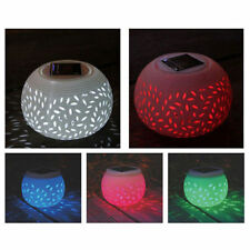 CERAMICA Cambia Colore LED Solare Sun Powered Filigrana Tavola Luce Giardino Lampada