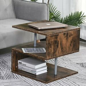Home Stylish Particle Board S-Shaped Side Table Living Room Modern Brown