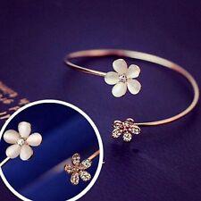 Bangle Crystal Rhinestone Charm Bracelet Womens Fashion Gold Plated Flower Cuff