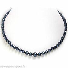 Black Akoya Pearl Necklace 5 - 9 MM AAA Flawless 14kt White Gold 18""