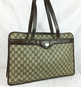 Ath Vintage Gucci Briefcase Shoulder Bag GG Supreme Unisex Travel Brown Monogram