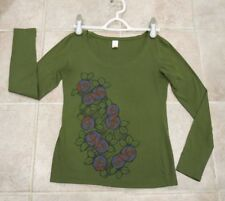 LUCY ACTIVEWEAR WOMEN'S PIMA COTTON LONG SLEEVE OLIVE GREEN  FLORAL TOP SIZE S