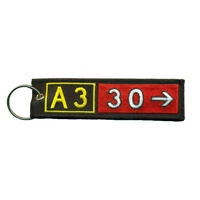 Airbus A330 Airport Taxiway Sign Embroidered Keychain. Aviation Airplane Gift.