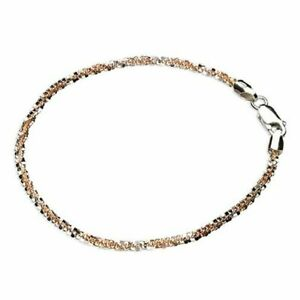 Sterling Silver Bracelet 19cm Two-Tone Daisy Chain New