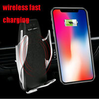 1x Automatic 360° Qi Wireless Car Charger Mount Air Vent Holder for Mobile Phone