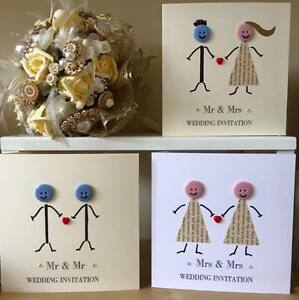 10 x Button Head Wedding Invitations MR & MR, MRS & MRS Gay Marriage