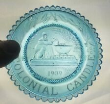 Pairpoint Glass Aqua Colonial Candle 1909 Cup Plate In Original Box