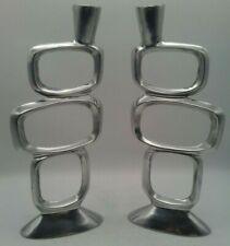 Vintage Pair Alloy Designer Candle Holders Mid Century Modern Retro Aluminum EUC