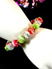 Encrusted Rhinestone Cuff Bangle Bracelet Exceptional 16 Pink Lime Glass Bead