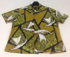 Ui Maikai Vtg Mens Shirt Medium Hawaiian Aloha Friday Sailing Canoes Tapa Print