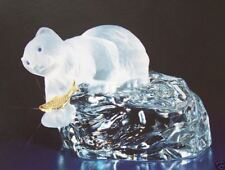 1988 $275 Faberge Crystal Polar Bear on Iceberg Carved 1 Piece of Crystal Signed