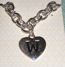 "DISNEY BRACELET MICKEY MOUSE INITIAL ""W"" HEART SHAPED DOUBLE SIDED CHARM NEW"